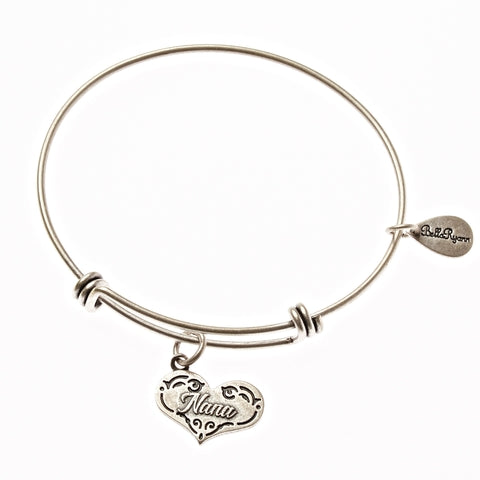 Nana Expandable Bangle Charm Bracelet in Silver - BellaRyann