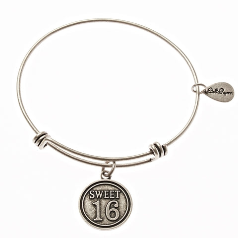 Sweet 16 Expandable Bangle Charm Bracelet in Silver - BellaRyann