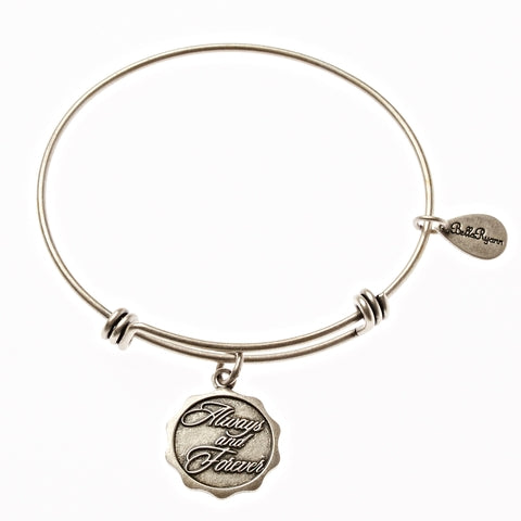 Always and Forever Expandable Bangle Charm Bracelet in Silver