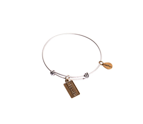 Blessed Expandable Bangle Charm Bracelet in Two Toned Mixed Metal - BellaRyann