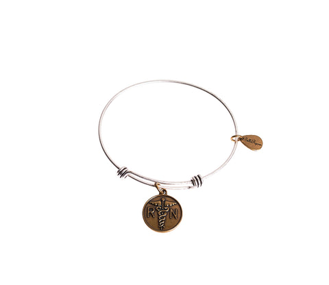 RN Nurse Expandable Bangle Charm Bracelet in Two Toned Mixed Metal