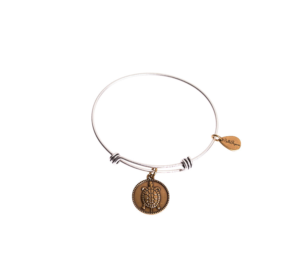 Turtle Expandable Bangle Charm Bracelet in Two Toned Mixed Metal