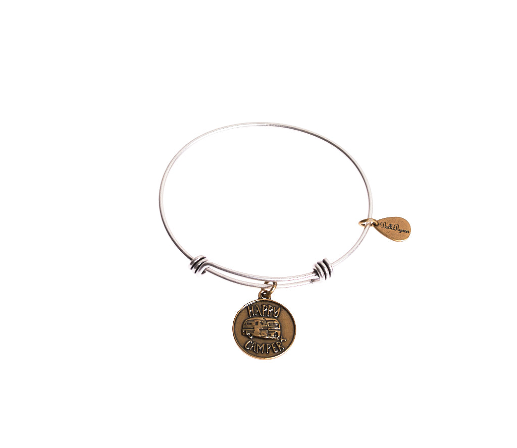 Happy Camper Expandable Bangle Charm Bracelet in Two Toned Mixed Metal - BellaRyann