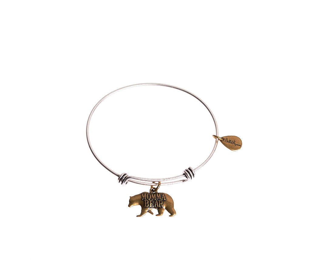 Momma Bear Expandable Bangle Charm Bracelet in Two Toned Mixed Metal