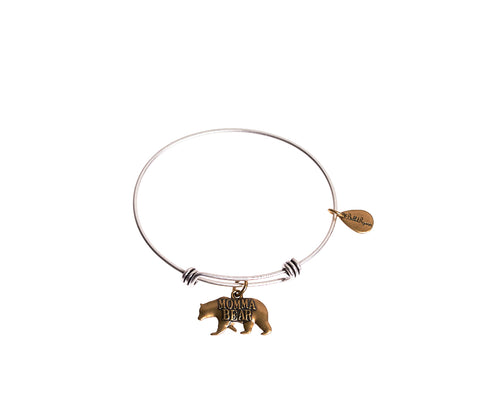 Momma Bear Expandable Bangle Charm Bracelet in Two Toned Mixed Metal - BellaRyann