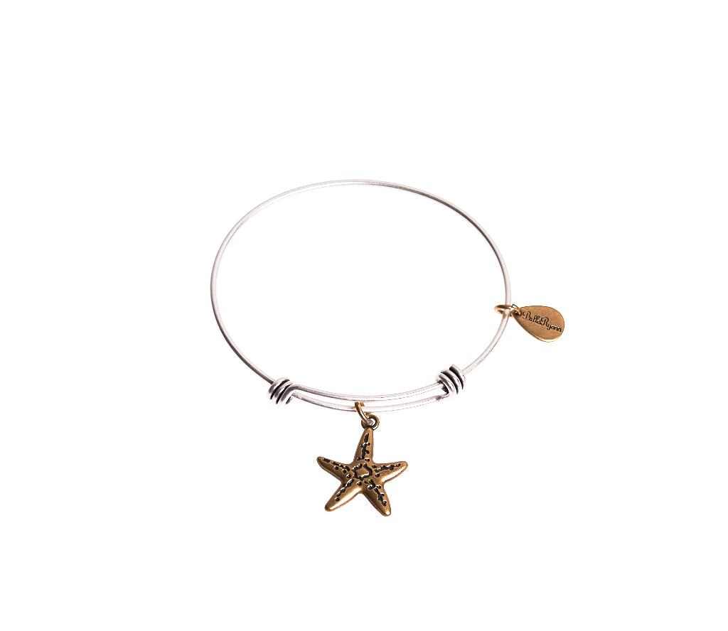 StarFish Expandable Bangle Charm Bracelet in Two Toned Mixed Metal