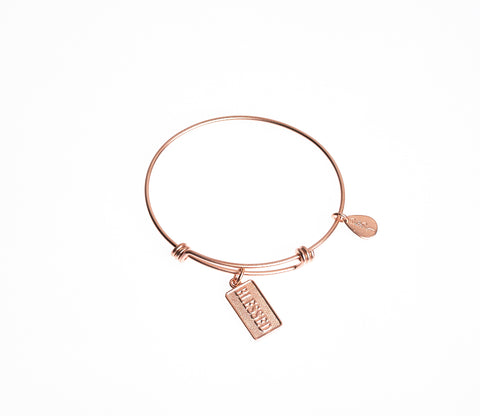 Blessed Expandable Bangle Charm Bracelet in Matte Rose Gold - BellaRyann