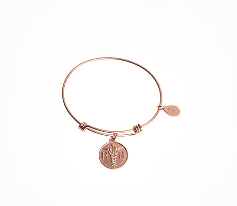 RN Nurse Expandable Bangle Charm Bracelet in Matte Rose Gold - BellaRyann