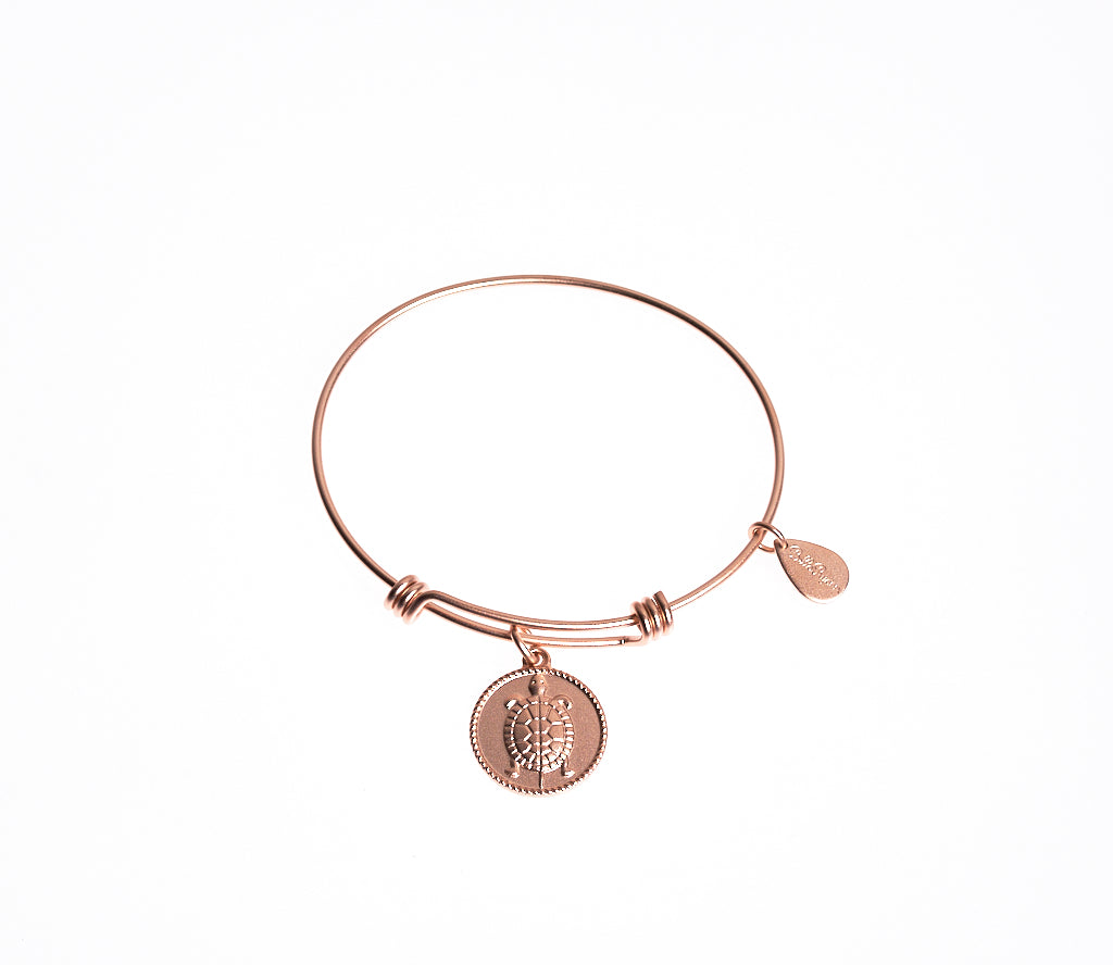 Turtle Expandable Bangle Charm Bracelet in Matte Rose Gold