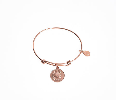 Happy Camper Expandable Bangle Charm Bracelet in Matte Rose Gold - BellaRyann