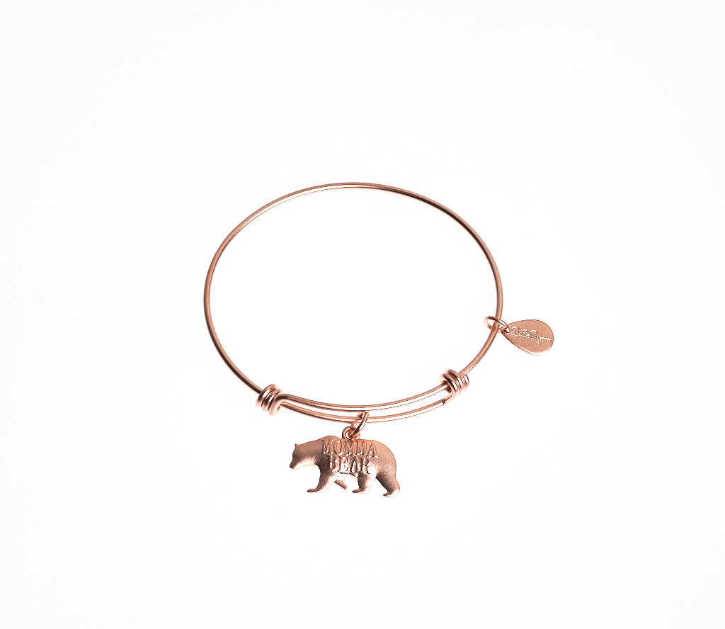 Momma Bear Expandable Bangle Charm Bracelet in Matte Rose Gold - BellaRyann