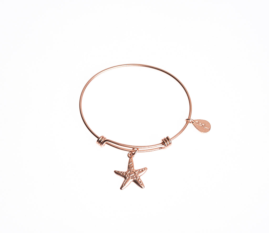 Starfish Expandable Bangle Charm Bracelet in Matte Rose Gold - BellaRyann