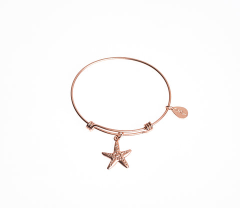 Starfish Expandable Bangle Charm Bracelet in Matte Rose Gold