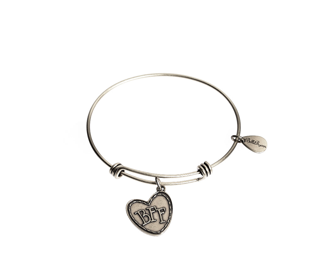 BFF (Best Friends Forever) Expandable Bangle Charm Bracelet in Silver - BellaRyann