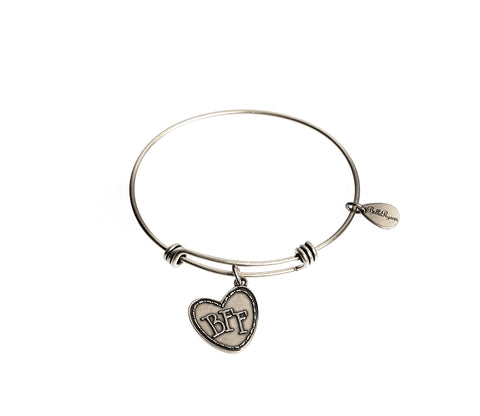 BFF (Best Friends Forever) Expandable Bangle Charm Bracelet in Silver