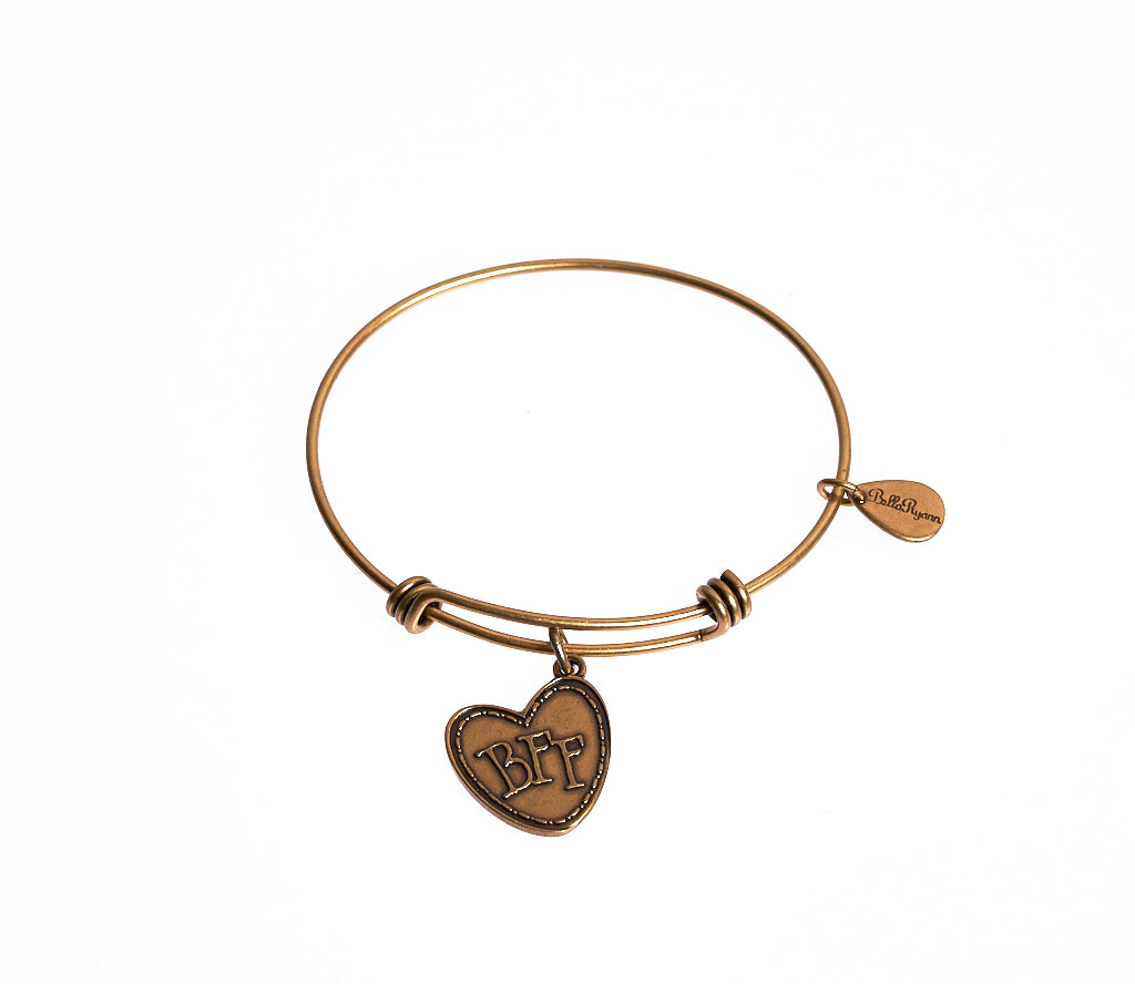 BFF (Best Friends Forever) Expandable Bangle Charm Bracelet in Gold - BellaRyann