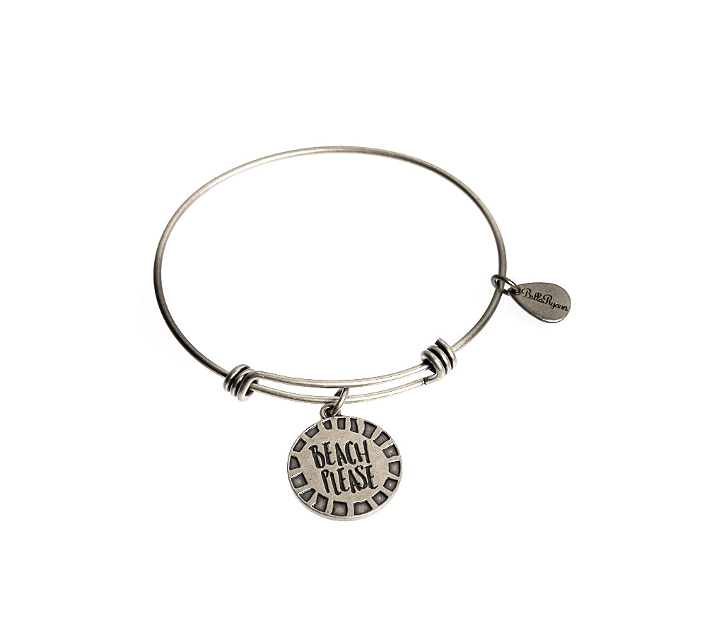 Beach Please Expandable Bangle Charm Bracelet in Silver - BellaRyann