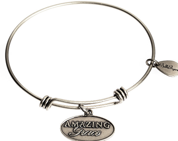 Amazing Grace Expandable Bangle Charm Bracelet in Silver - BellaRyann
