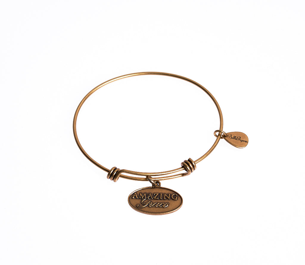 Amazing Grace Expandable Bangle Charm Bracelet in Gold - BellaRyann