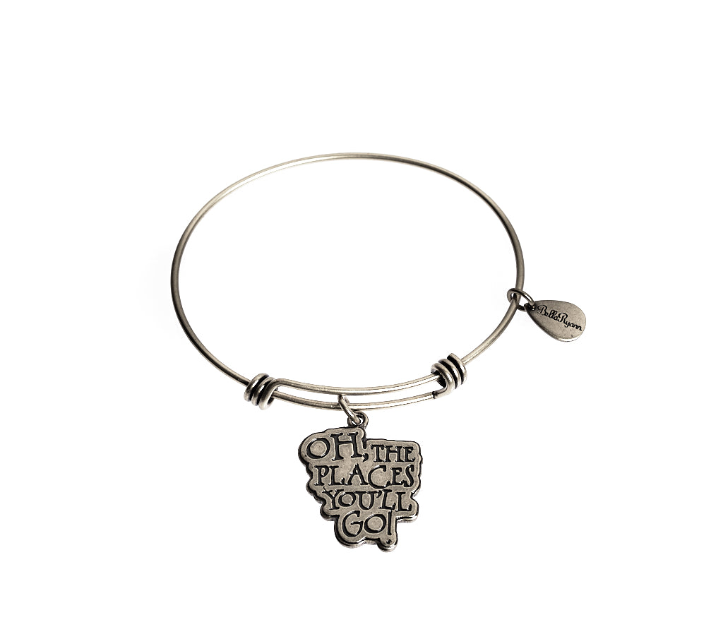 Oh, The Places You'll Go! Expandable Bangle Charm Bracelet in Silver - BellaRyann