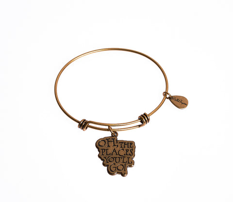 Oh, The Places You'll Go! Expandable Bangle Charm Bracelet in Gold