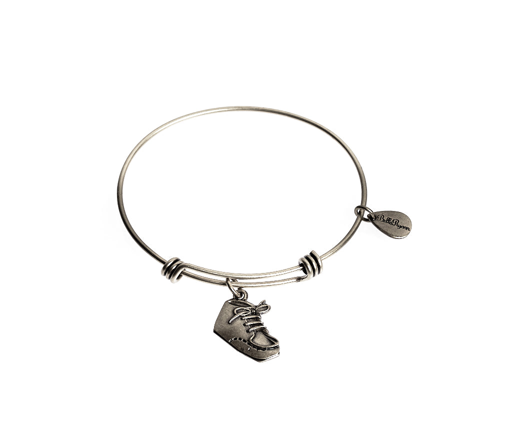 Baby Bootie Expandable Bangle Charm Bracelet in Silver - BellaRyann