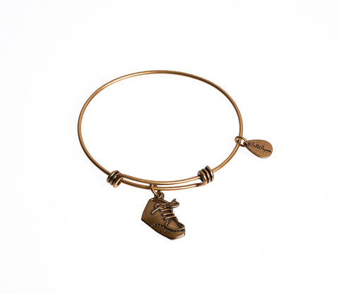 Baby Bootie Expandable Bangle Charm Bracelet in Gold - BellaRyann