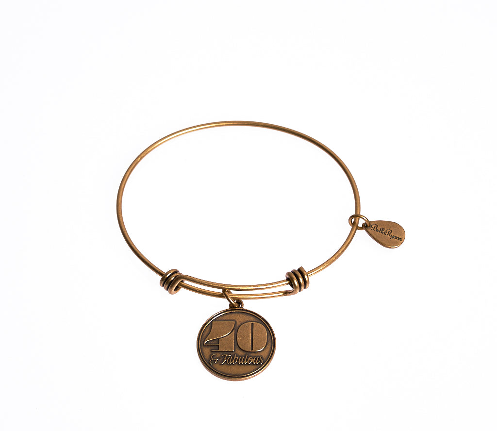 40 & Fabulous Expandable Bangle Charm Bracelet in Gold - BellaRyann