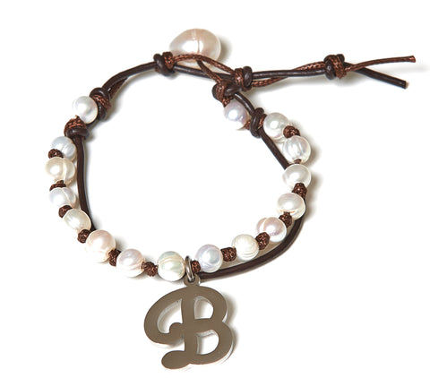 Letter B Stainless Steel Initial with Fresh Water Pearl Leather Wrap - BellaRyann