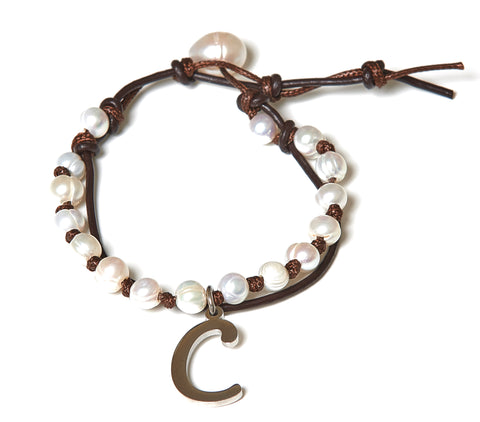 Letter C Stainless Steel Initial with Fresh Water Pearl Leather Wrap - BellaRyann