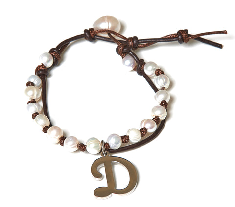 Letter D Stainless Steel Initial with Fresh Water Pearl Leather Wrap - BellaRyann