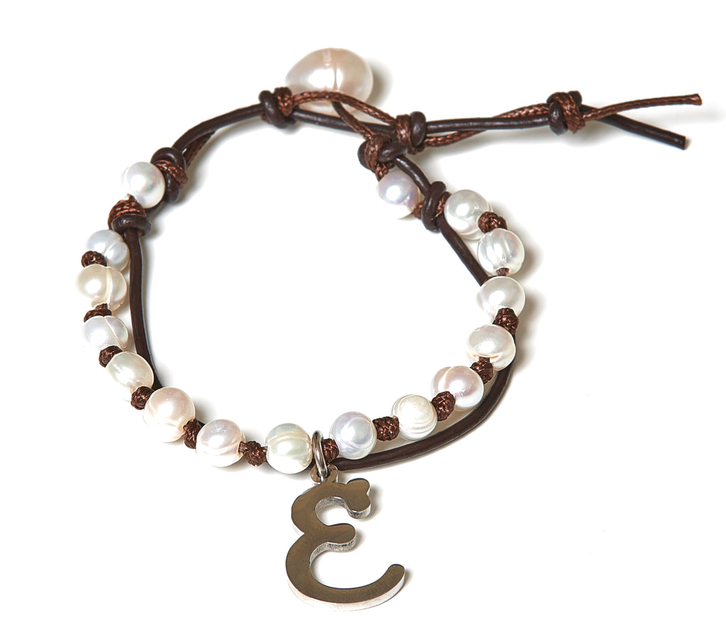 Letter E Stainless Steel Initial with Fresh Water Pearl Leather Wrap - BellaRyann