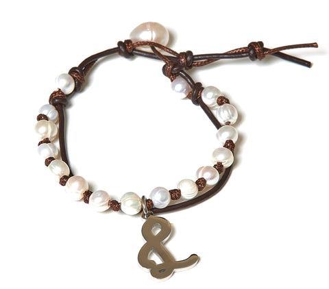 Letter L Stainless Steel Initial with Fresh Water Pearl Leather Wrap - BellaRyann