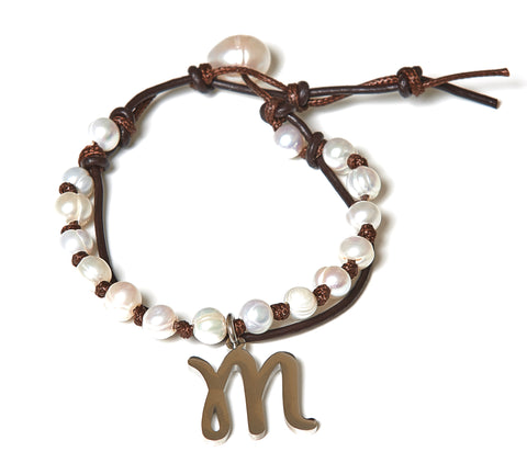 Letter M Stainless Steel Initial with Fresh Water Pearl Leather Wrap