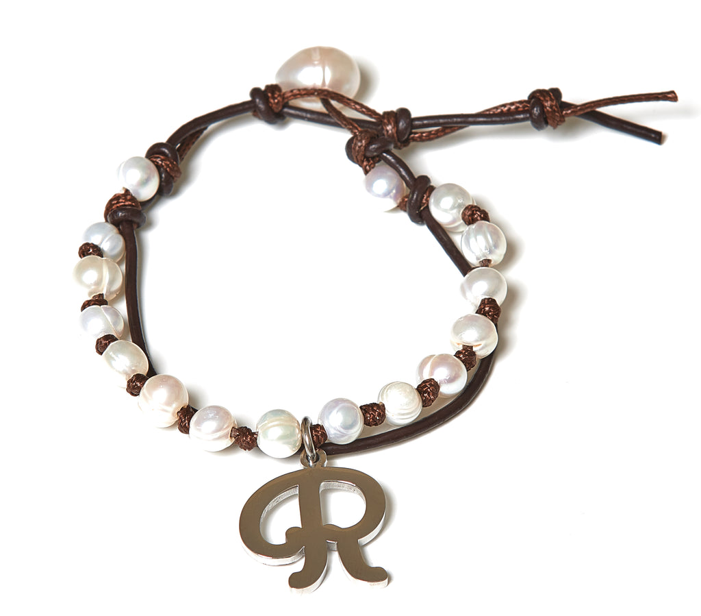 Letter R Stainless Steel Initial with Fresh Water Pearl Leather Wrap