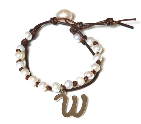 Letter W Stainless Steel Initial with Fresh Water Pearl Leather Wrap