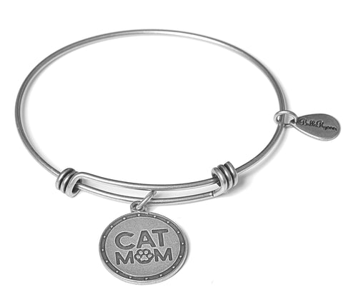 Cat Mom Expandable Bangle Charm Bracelet in Silver