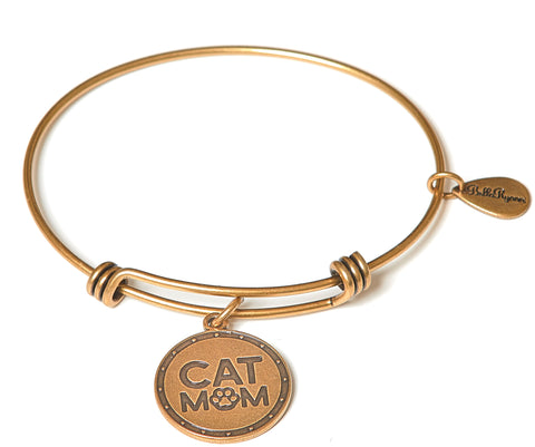 Cat Mom Expandable Bangle Charm Bracelet in Gold