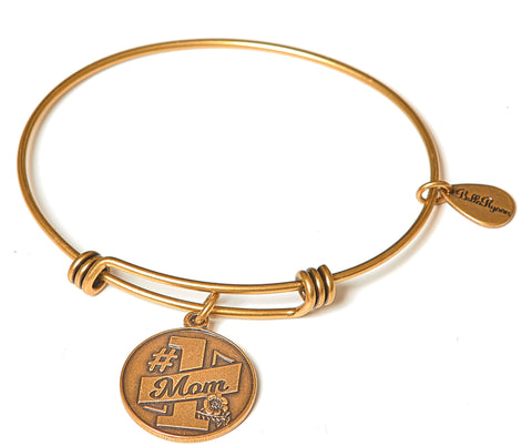 #1 Mom Expandable Bangle Charm Bracelet in Gold