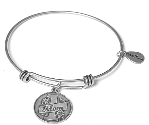 #1 Mom Expandable Bangle Charm Bracelet in Silver