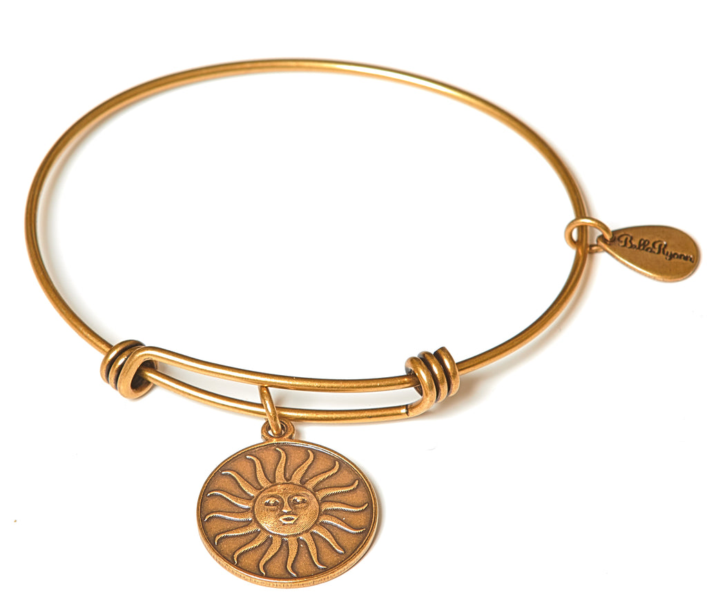 Shine Bright (Sun) Expandable Bangle Charm Bracelet in Gold - BellaRyann