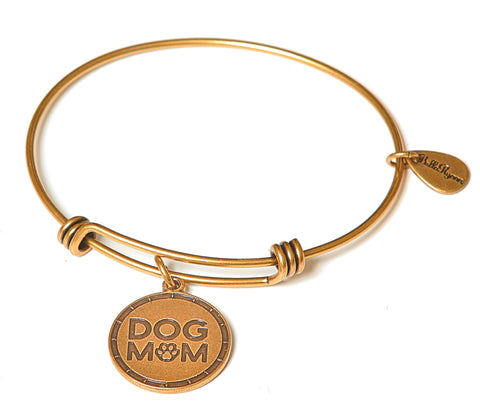 Dog Mom Expandable Bangle Charm Bracelet in Gold