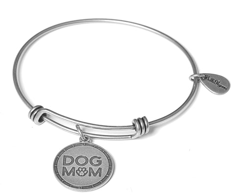 Dog Mom Expandable Bangle Charm Bracelet in Silver