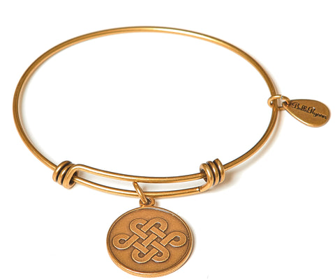 Endless Love Knot Expandable Bangle Charm Bracelet in Gold
