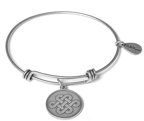 Endless Love Knot Expandable Bangle Charm Bracelet in Silver