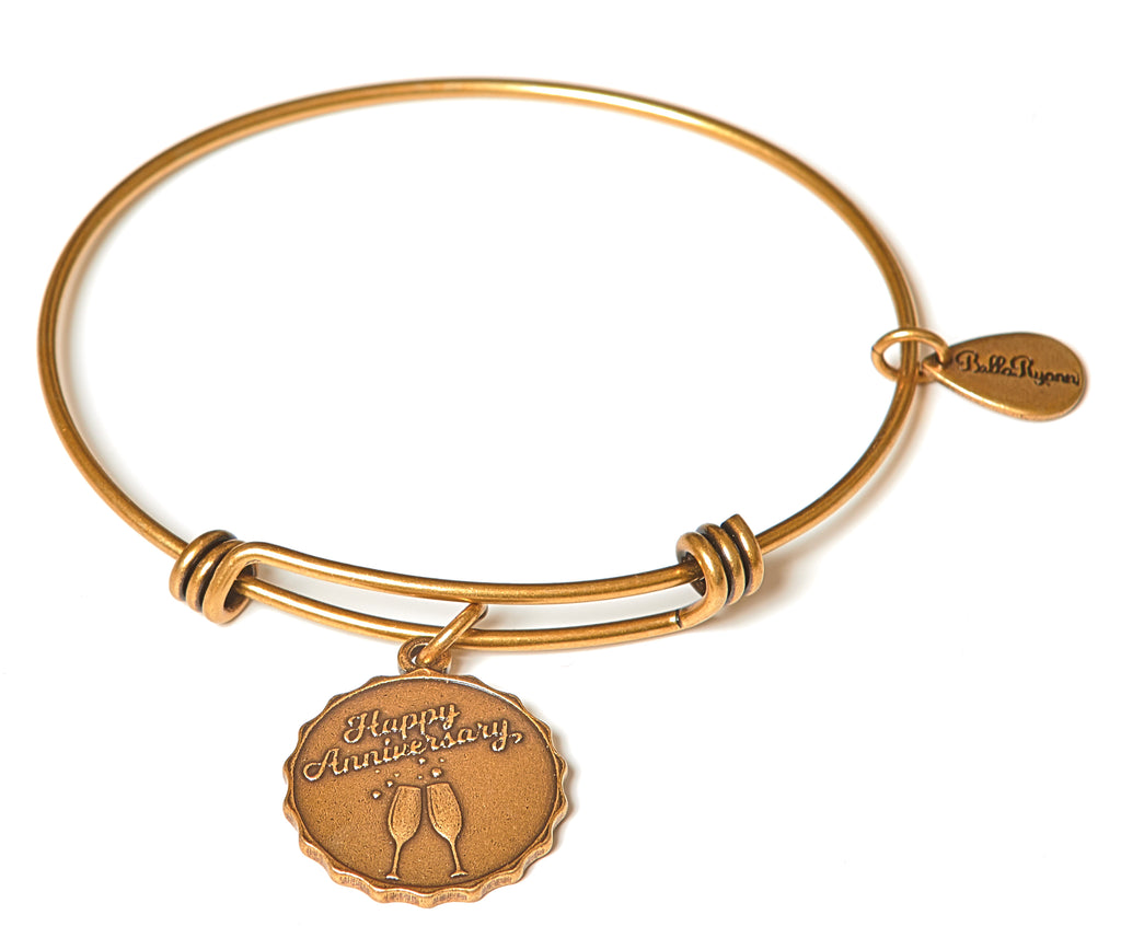 Happy Anniversary Expandable Bangle Charm Bracelet in Gold - BellaRyann