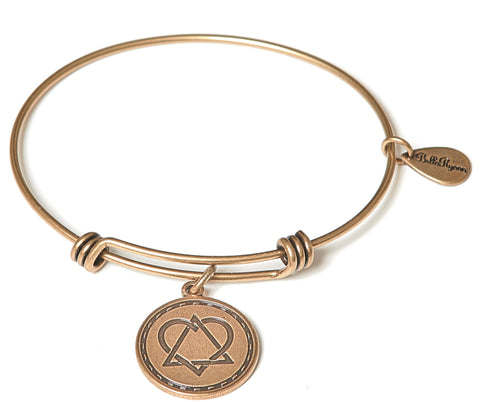 Born in My Heart Adoption Expandable Bangle Charm Bracelet in Gold
