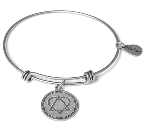 Born in My Heart Adoption Expandable Bangle Charm Bracelet in Silver