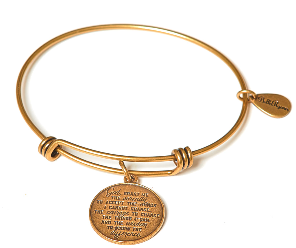 Serenity Prayer Expandable Bangle Charm Bracelet in Gold - BellaRyann