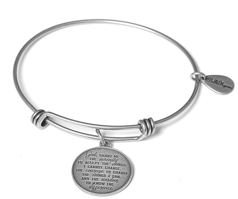 Serenity Prayer Expandable Bangle Charm Bracelet in Silver